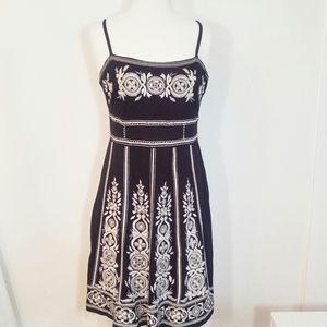 INC Embroidered Boho Beaded Black & White Dress